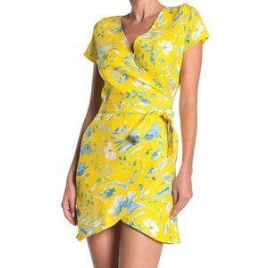 Love Ady Yellow Floral Faux Wrap Mini Dress